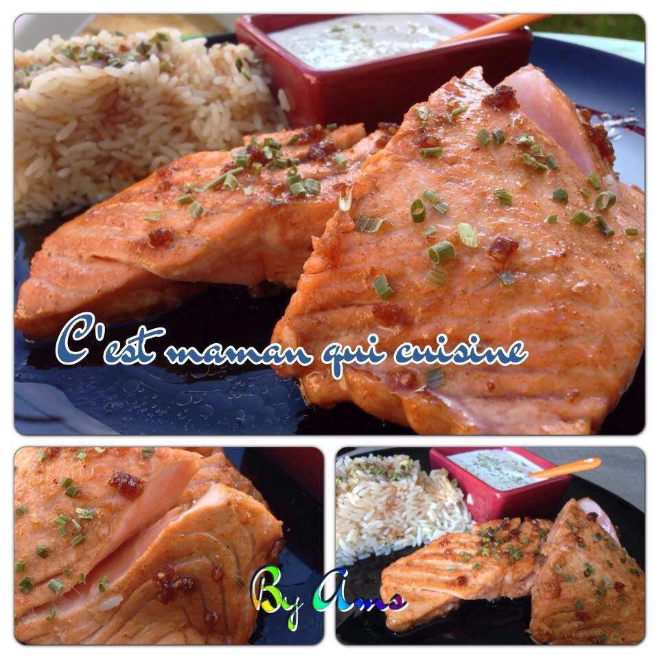 Pavé de saumon caramélisé sauce soja miel ail gingembre et son riz basmati accompagnée de sa sauce creme estragon