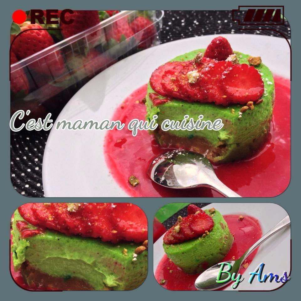 Cheesecake pistache fraise lit petit beurre