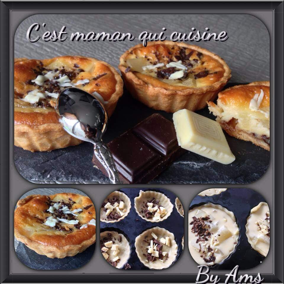 Tartelettes poires aux 2 chocolats sur pâte sablée