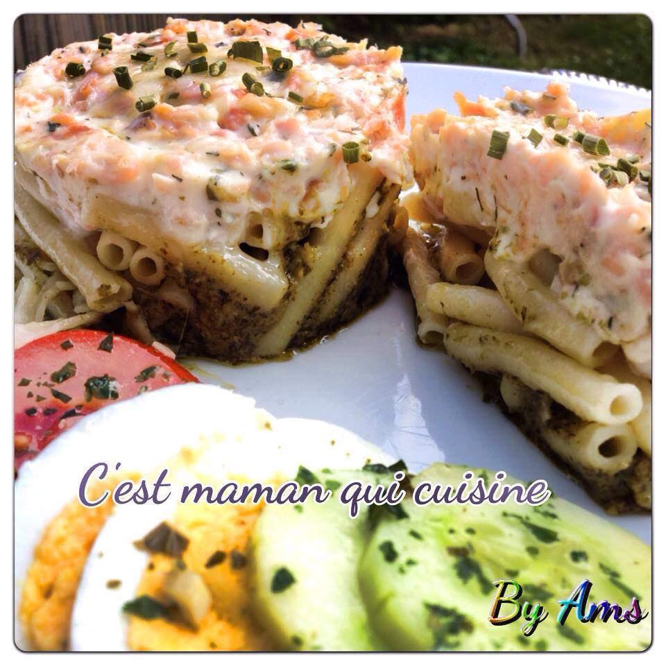 Gratin de macaronis saumon creme sur lit de Pesto