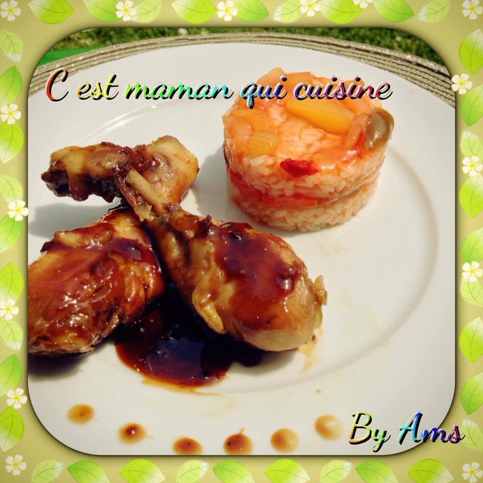 Poulet au miel et soja sauce caramélisés accompagnée de son riz sauce aigre douce