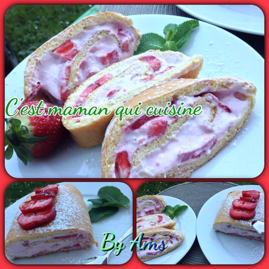 Roulé fraise mascarpone