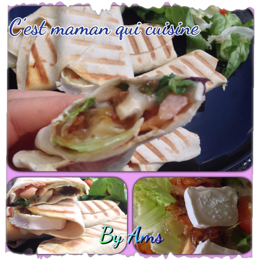 Wrap chevre oignons caramélisées crudités sauce César