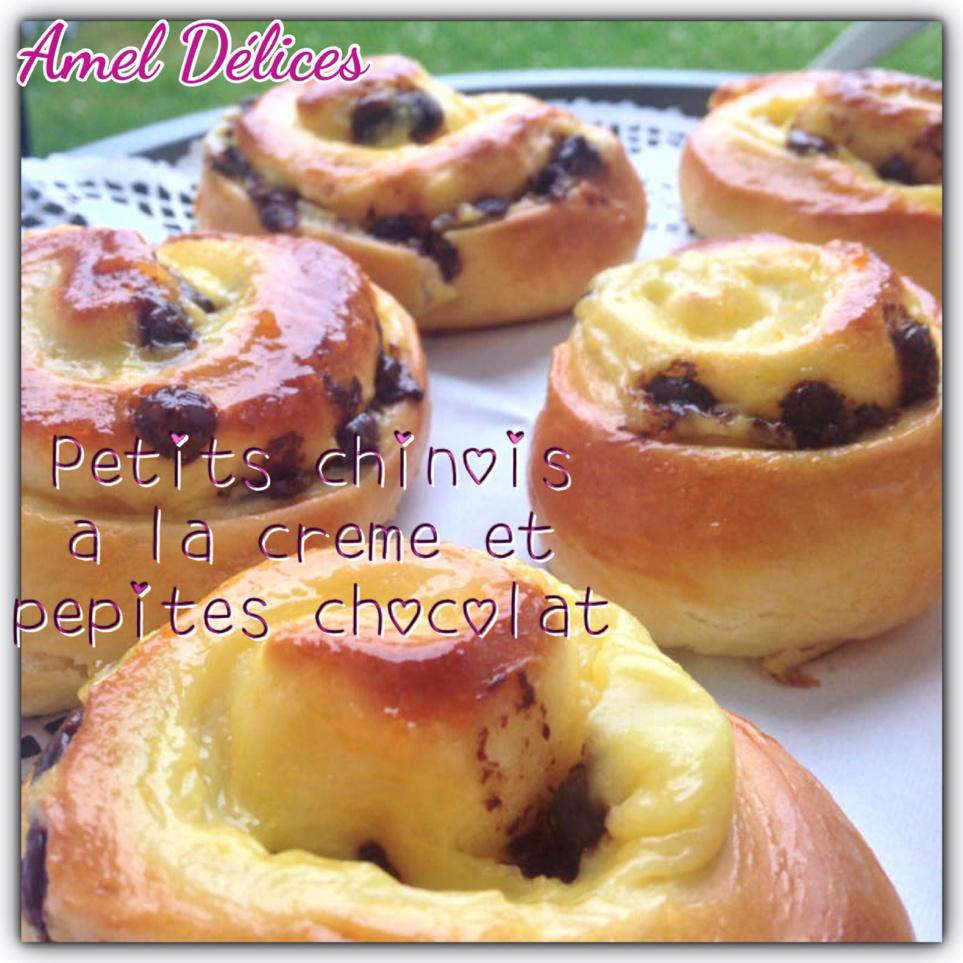 Petits chinois ou escargots briochés à la crème pâtissière et pépites de chocolats