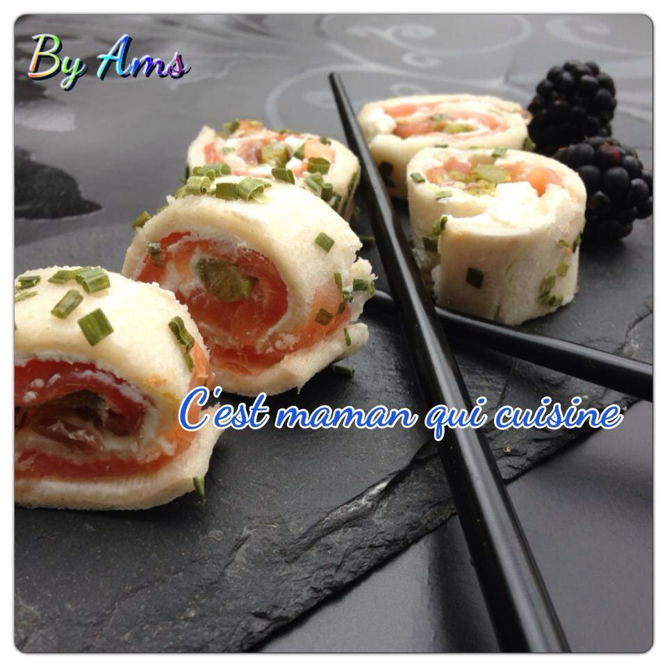 Roulés type ROLLS saumon fume fromage frais cœur asperge