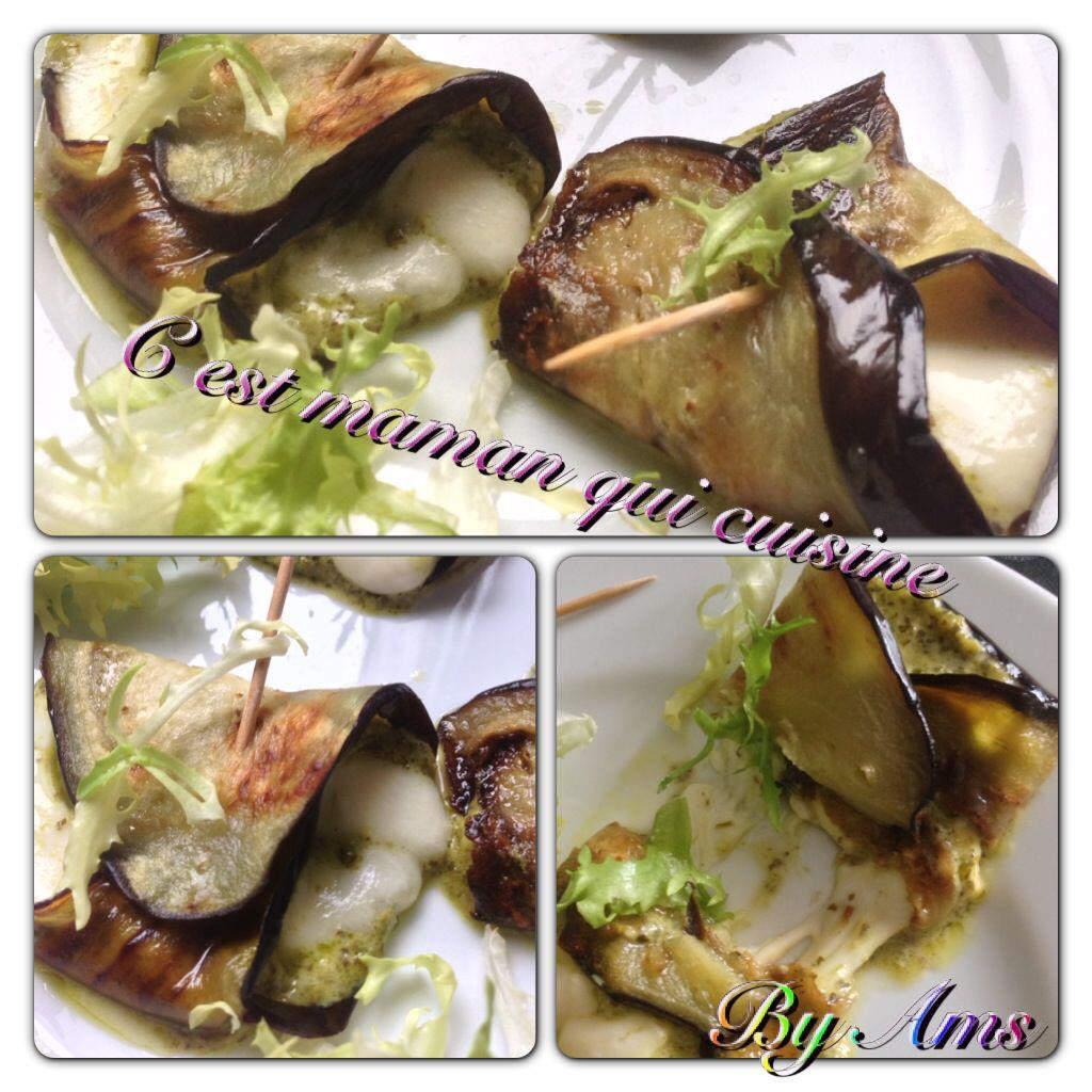 Roulé aubergine pesto mozzarella