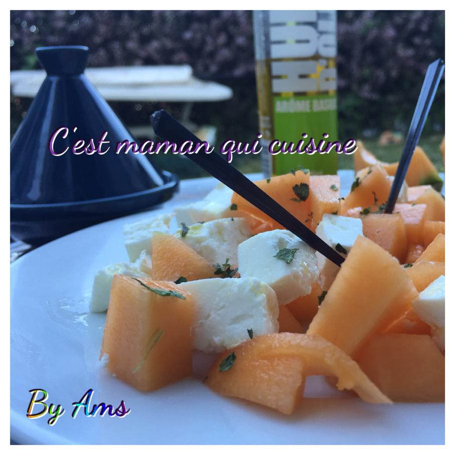 Salade fraîcheur melon feta coriandre
