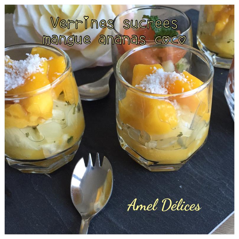 Verrines sucrées mangue ananas coco