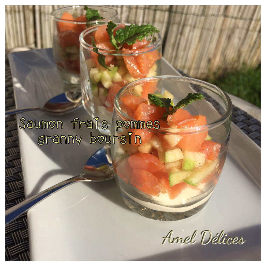 Verrines saumon pomme granny boursin